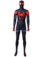 ingrosso vestito nero dello zidale dello spiderman-Spandex Black Spiderman Costume Newest Anime Cosplay Catsuit Halloween Supereroe Fullbody Zentai Suit Adulto / bambini / Custom Made