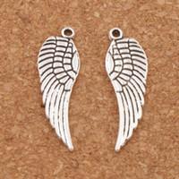 ingrosso le ali antiche-Anelli di fascino di angelo ala 200pcs / lot 12.4x25mm argento antico / bronzo ciondoli gioielli moda fai da te l084