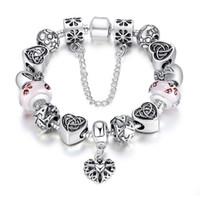 pandora tibetisches silber großhandel-Heißer Verkauf Diy Pandora Armband Europa American Popular Schmuck Festival Geschenk Frauen Armband tibetischen Silber feinen Glas Perlen Armband