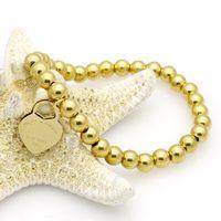 Wholesale steel t bars resale online - T stainless steel jewelry fashion Peach heart bracelet Beaded chain female titanium cuff bracelet for man steel jewelry