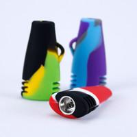 handpfeife percolator großhandel-Tragbare Mini-Shisha-Silikon-Wasser-Rohre für trockenes Kraut Unbreakable Percolator Bong-rauchendes Öl-Konzentrat-Hand Tabak-Rohre 10 Farben
