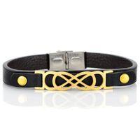Wholesale geometric bracelets online - Genuine leather Bracelet Stainless steel cross geometric bowtie Bangle A quality Bracelets fashion wrist unisex ornaments jewelry