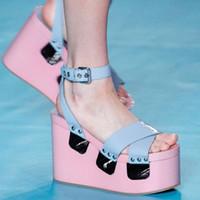 Discount wedges belt - Italian Runway Shoes Pink Gladiator Sandals Sponge Bottom Belt Buckle High-Heeled Platform Open Toe Sandals Boots Wedges Sandals