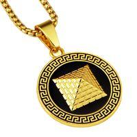 ägyptischen pyramide halskette groihandel-Fashion Gold Pyramid Halsketten für Frauen Männer Fashion Long Gold Chain Charm Halskette ägyptischen Hip Hop Schmuck
