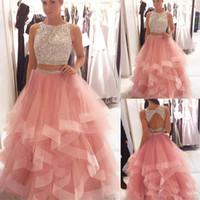 pembe iki parçalı balo elbisesi toptan satış-Zarif Pullu Boncuklu Gelinlik Modelleri Organze Ruffles İki Adet Pembe Kristaller Korse Uzun Abiye giyim Zarif Balo Parti Elbise