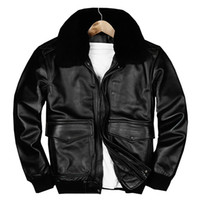 Wholesale A2 Leather - 2018 Black Men USAF Pilot Leather Jacket Wool Collar Plus Size 3XL Genuine Cowhide Winter Russian A2 Leather Coat FREE SHIPPING