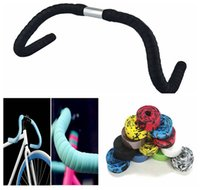 Wholesale Tape Cycling - Cycling Handle Belt Bike Bicycle Cork Handlebar Tape Wrap With 2 Bar Plug Handle Bar Tape Black DDA187