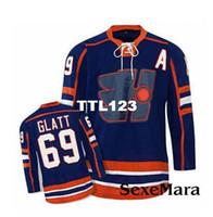hockey jerseys оптовых-Мужчины Горячая распродажа Goon Hockey Jersey # 69 Thug Glatt LaFlamme # Halifax Highlanders Goon Movie Blue Jersey высококачественная вышивка Джерси