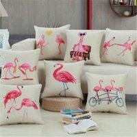 kuş arabaları toptan satış-Flamingo Minder Kapak Flamingo Kuşlar Lomber Ofis Kanepe Araba Yastıkları Yumuşak Yastık Kılıfı Ev Yatak Odası Dekor Hediye Yastık Kılıfları YFA02 Kapakları