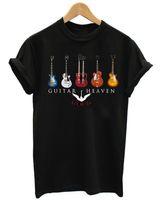 metal clássico camisetas venda por atacado-GUITARRA HEAVEN CLASSIC ROCK HEAVY METAL MÚSICA DOS HOMENS PRETO T-SHIRT Hip Hop homens camiseta rock Unisex t Camisa Tops de Moda