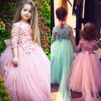 Wholesale Applique Designs For Wedding Dresses - 2018 New Design Cute Tulle Little Cheap Flower Girl Dresses Half Sleeves Girls Formal Wear Gowns Lace Kids Pageant Dress for Wedding BA8847