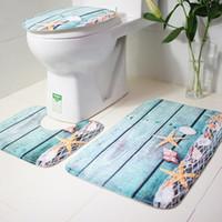 alfombra de baño de guijarros al por mayor-3 Unids Set Baño Antideslizante Shell Guijarro Pedestal Alfombra + Tapa Del Retrete Tapa + Alfombra de Baño
