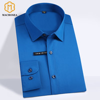 classic care 2018 - High Quality Classic Style Bamboo Fiber Men Dress Shirt Solid Color Men's Social Shirts Office Wear Easy Care(Regular Fit) D18101304