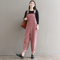 Wholesale corduroy overalls women - Women Vintage Striped Corduroy Cotton Jumpsuits Spring Autumn Casual Loose Strap Rompers Thick Warm Pocket Loose Overalls Romper