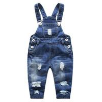bebek kot tulumu toptan satış-12 m-6 t Çocuklar Önlüğü Tulumları Bahar Sonbahar Bebek Kot Pantolon Kız Erkek Kot Tulumlar Çocuk Rompers Yürümeye Başlayan Giysi