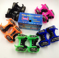 Wholesale roller skate shoes for sale - Group buy Children Scooter Kids Sporting Pulley Lighted Flashing Roller Wheels Heel Skate Rollers Skates Wheels Shoe Skate Roller GGA547 pairs