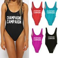 piscina de mujeres sexy al por mayor-Mujeres Carta traje de baño de una pieza CHAMPAGNE CAMPAIGN Body traje de baño Sexy High Cut Bathing Beach Pool trajes mujeres mono Bikini HH7-1105