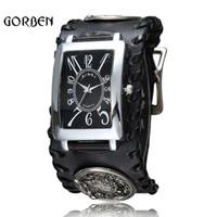 pulseira de couro para homens venda por atacado-Retro estilo gótico do rock do punk relógio de pulso dos homens pulseira de lobo de couro preto de quartzo mens watch presentes relogio masculino