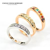 Wholesale Gold D Ring - Rose Gold Color 9 Pcs Rhinestones Classic Must-have Simple Woman Finger Ring Wholesale 3 Colors 18KRGP Stamp