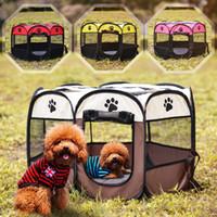 evcil hayvan oyuntayları toptan satış-Taşınabilir Katlanır Seyahat Köpek Evi Pet Çadır Mesh Oxford Su Geçirmez Kedi Kafes Köpek Kulübesi Sekizgen Çit Açık Oyun Parkı Malzemeleri OOA4617
