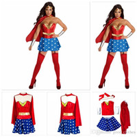 wonder woman costume al por mayor-Disfraz de fiesta para mujer Wonder Woman Costume Adult Sexy Dress Disfraces de personaje de dibujos animados Disfraces de Halloween para mujeres YYA151