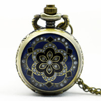 Wholesale Enamel Pocket Watches - PS567 Vintage Jewelry New Colorful Enamel Rhinestone Movt Flower Pattern Pocket Watch Small Size