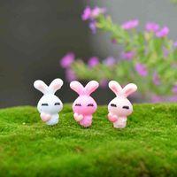 ingrosso piccolo giardino paesaggistico-Mini coniglio carino coniglietto 3 colori casuale fai da te assemblato piccoli giocattoli muschio terrario decor micro paesaggio piante vaso accessori fata giardino