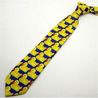 причудливая утка оптовых-Yellow Funny Rubber Duck Tie Men's Fashion Casual Fancy Ducky Professional Necktie How I Met Your Mother New 1pc Cute Ducky Tie