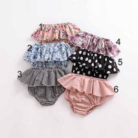 Wholesale flower harem online - NEW arrival Baby Clothes Summer Girls Polka Dots flower Print all match cotton anti mosquito baby girl short