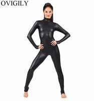 bodysuits nylon mulheres venda por atacado-OVIGILY Mulheres Spandex Metálico Unitard Catsuit Adultos Lycra Brilhante Manga Longa Unitards Bodysuits Pele Traje Feminino Preto Apertado