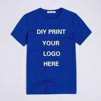 benutzerdefiniertes bedrucktes hemd logo großhandel-Benutzerdefinierte Druck Logo heißer Verkauf hohe Qualität Rundhals Kurzarm Baumwolle Mann T-Shirt uniex Größe für Frau und Mann Sommer Top Kleidung
