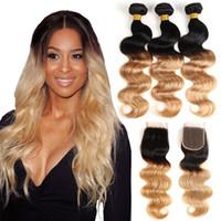 koyu sarışın brazilian saç toptan satış-Ombre Vücut Dalga T1B / 27 # Koyu Kök Bal Sarışın İnsan Saç Demetleri ile Dantel Kapatma Renkli Brezilyalı Saç Örgü Kapatma Ile