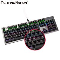 Wholesale Illuminated Letters - Russian Layout Mechanical Backlit Illuminated Gaming Gamer Keyboard USB Backlight Blue Switch Metal Panel 104 Keys Russia letter