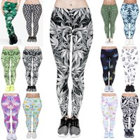 Wholesale Ladies Color Pink Yoga Pants - Women Leggings 12 Styles Lucky Leaf 3D Graphic Print Girls Skinny Stretchy Yoga Wear Pants Lady Gym Fitness Pencil Fit Trousers (JL002)