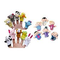 xt игрушки оптовых-16шт палец куклы include10 животных и 6 человек членов семьи развивающие игрушки для детей #XT