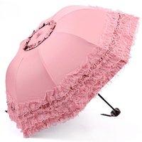 princesa paraguas al por mayor-Nuevo paraguas de arco de las mujeres sol lluvia princesa paraguas de encaje boda sombrilla gran regalo paraguas de la muchacha envío gratis