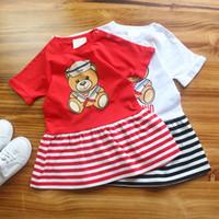 Wholesale little girls short skirt dress - Girl Dress 2018 A Summer Little Bear Printing Girl Skirt Stripe Short Sleeve Dress Fashion Design