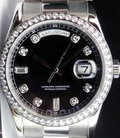 bracelet lunette diamant achat en gros de-Cadran de luxe en platine Day-Date President cadran noir / lunette 118206 Mouvement automatique de machines Montre pour homme Montre-bracelet de sport en acier inoxydable pour homme