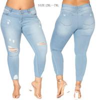 Wholesale Denim Fat Pants - Fat Women Denim Jeans Wash Broken Trousers Hot Sexy Slim Jeans For Woman Eur US Size Women Pants