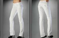 senhoras calças brancas venda por atacado-Branco Preto Senhoras longas Jeans Womens magro sexy VERDADEIROS Brand Jeans bolso design da religião calças compridas roupas das mulheres Skinny Jeans