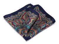 ingrosso quadrati di tasca navy-Hn34v Navy Blue Green Red Hisdern Handkerchief 100% raso di seta naturale Mens Hanky Fashion Classic Wedding Party Pocket Square