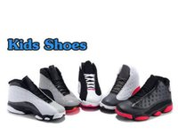 Wholesale latex fashions for kids - 13 Grey Pink Black White Kids Basketball Shoes Children Sports Shoes 13s Sneakers Cheap Kids Shoes fashion trainer for boys girls