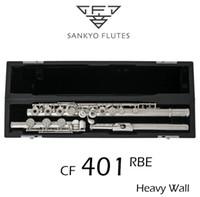 ingrosso e flauto-Professionale Sankyo CF-401 FLUTE ETUDE E Chiave Split Argento Placcato Flute C tono 17 Fori Aperto Offset G Copia
