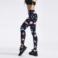 pantalones de yoga sexy al por mayor-Moda mujer Rainbow Star Donut Leggings Unicorn Sweets Impresión Fitness legging Sexy cintura alta mujer pantalones de yoga más tamaño