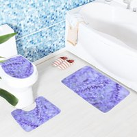 Wholesale Floral Bath Mats - 3pcs Bathroom Mat Set Purple Lavender Colored Flowers Pattern Bath Mat Non Slip Shower and Toilet Sets