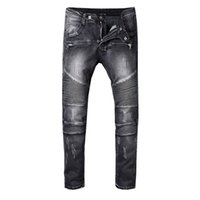 Wholesale Bleach 42 - Men's Distressed Ripped Biker Jeans US Size 28~42 Slim Fit Motorcycle Biker Denim For Men Fashion Designer Hip Hop Mens Jeans Good Quality