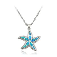 Wholesale fire stone necklace - HAIMIS Nice Opal Starfish Pendant Blue White Green Brown Fire Opal Necklace Pendant 1 3 8'' OP195 Free Gift Box