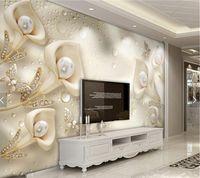 Wholesale fireproof wallpaper resale online - 3D Embossed Flower Jewelry Pearls Photo Wallpaper Mural Living Room Sofa TV Background Wall Decor papier peint d Custom Size