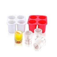 haciendo cubitos de hielo al por mayor-Cuatro Hoyos Ice Cube Cup Mold Portable Summer DIY Hacer Popsicle Ice Cream Mold Kitchen Tools Pure Color 3 7yn bb