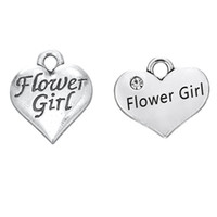 Wholesale heart shaped necklaces for girls - 30PCS European American Style Heart Shaped Letter FIOWER GIRL DIY Alloy Dangle Jewelry For Necklace Bracelet Jewelry